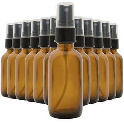 10X(Set of 12, 2 Oz Amber Glass Spray Bottles for Essential