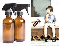 16oz Amber Spray Bottle 2 Pack with Sprayer Heads