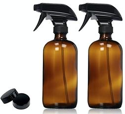 2 Pack Empty Amber Glass Spray Bottles with Labels Durable B