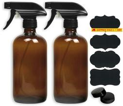 2 Pack - Simplehouseware 16Oz Amber Glass Spray Bottles With