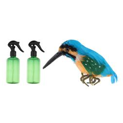 2pcs Empty Spray Bottle & Vivid Kingfisher Birds Garden Scul