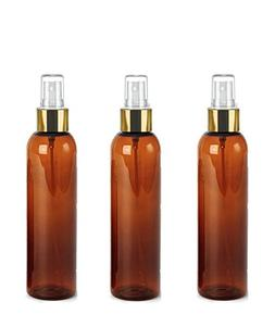 3 Elegant Grand Parfums Amber 8 Oz PET Cosmo Bottles with Sh