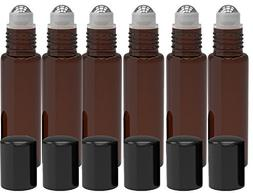 6 Pack - Empty Roll on Glass Bottles  10ml Refillable Color