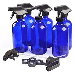 6 Blue Glass Spray Bottle Bottles with Black Trigger Sprayer