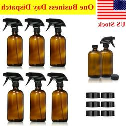 6 PACK Empty Amber Glass Spray Bottle Mist Cleaning Large 16
