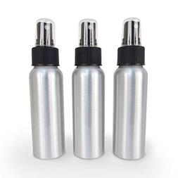 Set of 3 - Brushed Aluminum 2.7 oz Spray Mist Bottle for Ess