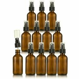 12 Pack Amber Boston Round Glass Fine Misting Spray Bottles