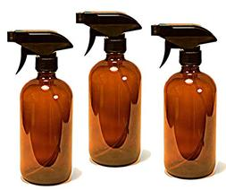 16 oz Amber Bottle with Black Spray Nozzle by Oils For Every