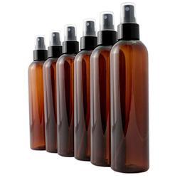 8oz Amber Brown Empty Plastic PET Spray Bottles with Fine Mi