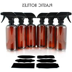 16oz Amber PLASTIC Spray Bottles w/Heavy Duty Mist & Stream