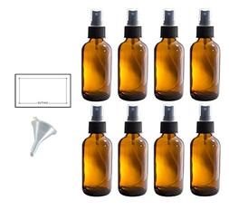4 oz Amber Glass Boston Round Fine Mist Spray Bottle  + Funn