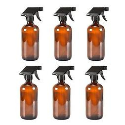 6 Amber Glass Spray Bottle Bottles with Black Trigger Spraye
