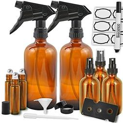 Amber Glass Spray Bottles by Duracare, 2 Trigger Sprayers w/