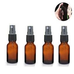 4 Pack 15 mL Amber Glass Bottles 1/2 oz Essential Oils Bottl