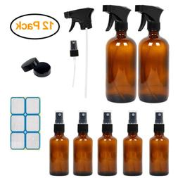 Amber Glass Spray Bottles for Essential Oils, Empty Mist Spr