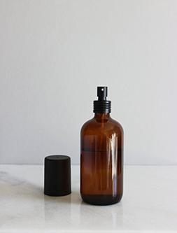 Apothecary Amber Glass Mist Bottle with Black Metal Aluminum