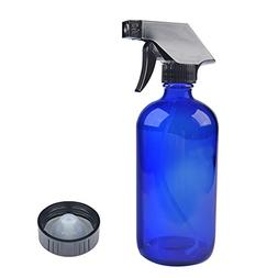 Blue Glass Spray Bottles with Black Trigger Sprayer.16 oz Re
