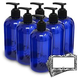 BAIRE BOTTLES -16 OZ BLUE PLASTIC REFILLABLE BOTTLES with BL