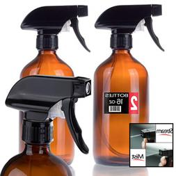 Iprimio Spray Bottle – 2 Pack - 16oz Refillable Amber Glas