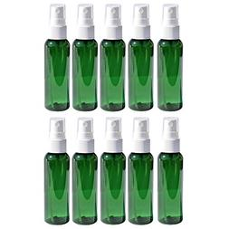 Travel Spray Bottles 2oz. Green PET Plastic Sets with White