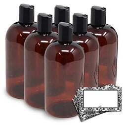 BAIRE BOTTLES - 16 OZ BROWN AMBER PLASTIC REFILLABLE BOTTLES