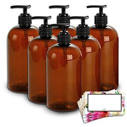 BAIRE BOTTLES -16 OZ BROWN AMBER PLASTIC REFILLABLE BOTTLES