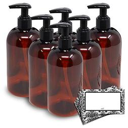 BAIRE BOTTLES - 16 OZ BROWN AMBER PLASTIC REFILLABLE BOTTLE