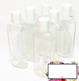 6 oz Clear Cosmo Oval Plastic Bottles with White Disc Top an