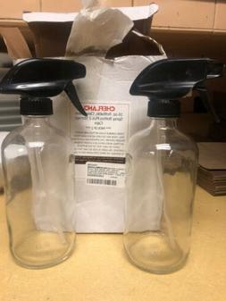 Chefland Clear Glass Spray Bottles 2 Pack 16 Oz Refillable w