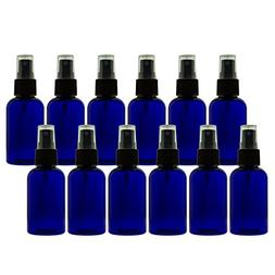 2 oz  Cobalt Blue PET Bottles Refillable - Boston Round spra