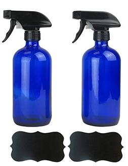 E-Living Set of 2 Blue Glass Spray Bottles for 16oz of Liqui