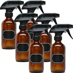 8oz Empty Amber Glass Spray Bottles with Poly Cone Caps  - R