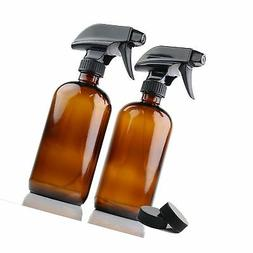 Empty Amber Glass Spray Bottles | 2 Pack 16 Oz Refillable Sp
