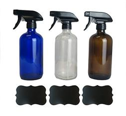 Europa Essentials Empty Refillable 16oz Glass Spray Bottles