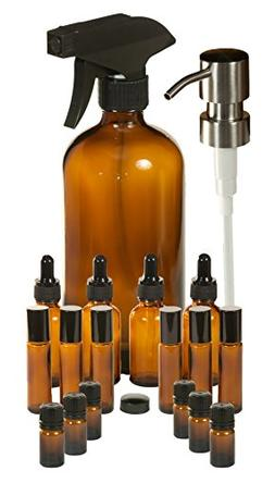 ESSENTIAL OILS COMPLETE DIY KIT Includes 16 oz Glass Amber B
