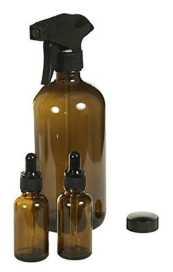 ESSENTIAL OILS STARTER DIY KIT Includes 16 oz Glass Amber Sp