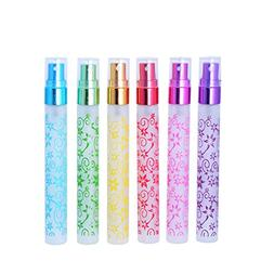Enslz 6 PCS 10ml Flower Print Matte Refillable Empty Travel