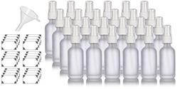 2 oz Frosted Clear Glass Boston Round White Fine Mist Spray