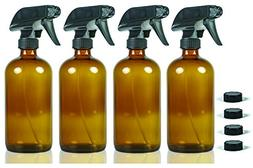 16 oz Glass Spray Bottles - NatureO Empty AMBER Spray Bottle
