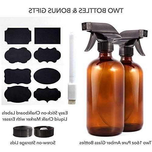 Amber Glass Spray - Bonus: Labels + Empty Essential Oils, Cleaning Products and - Action Trigger Sprayer with Mist, Stream