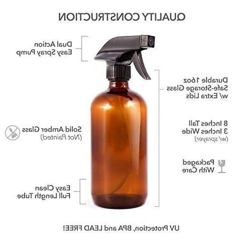 Amber - Labels + Empty Essential Oils, Cleaning and Dual Action Sprayer with Mist, Stream