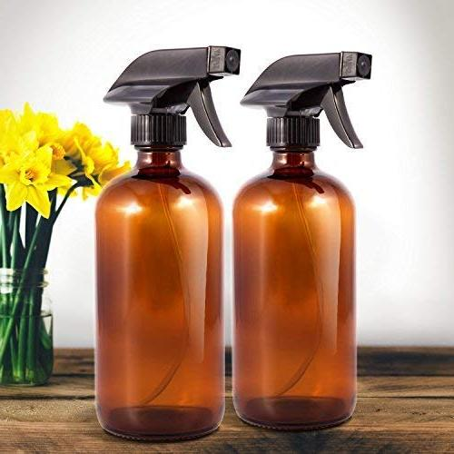 Amber - Empty Refillable Bottle for Essential Oils, Cleaning Products and Aromatherapy Action with Mist,