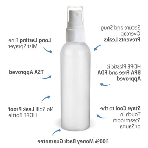 Moyo Natural Labs 2 Ounce HDPE Fine Mist Spray Bottles 4 pac