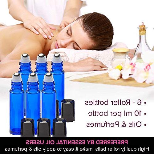 Ultimate Bottles With Stainless Steel Balls, 6 Pack 10ml Dark Blue Glass Bottle With Rollerballs For Perfume Aromatherapy + Opener 192