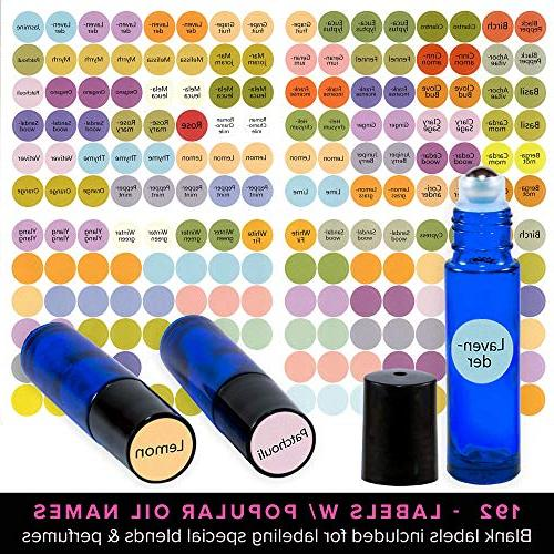 Ultimate Essential Oil Bottles Set Steel 10ml Dark Glass 7 Rollerballs Aromatherapy 1 + 192 Labels