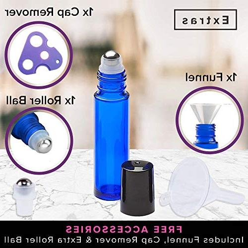 Ultimate Bottles Stainless Steel Balls, 10ml Dark Glass With Rollerballs Aromatherapy + Opener Labels