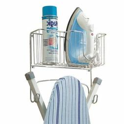 mDesign Ironing Board Holder with Storage Basket for Clothin
