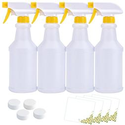 16 oz Plastic Spray Bottles  with Caps and Labels, Leak Proo