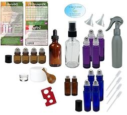 Premium Essential Oil Supply Kit - Purple, Blue, Amber Rolle