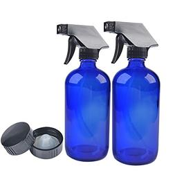 Two Blue Glass Spray Bottles with Black Trigger Sprayer.16 o
